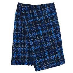 ドゥロワー 6524-234-1101 BLUE ツィード ラップ レディース スカート 画像