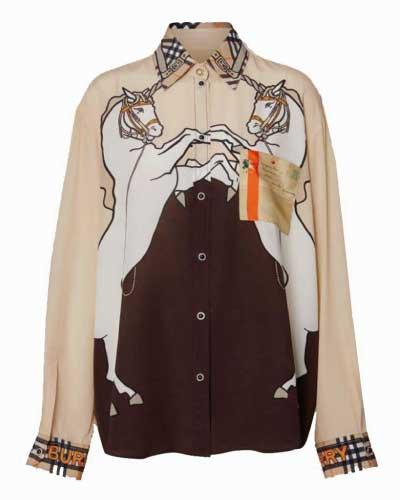 ユニコーンプリント シルクシャツ 画像