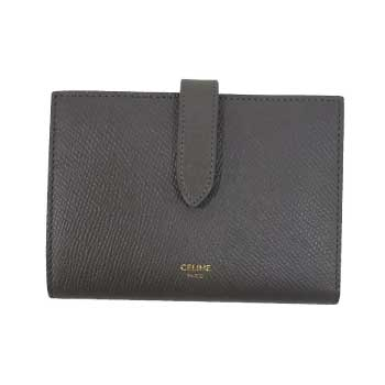 セリーヌ CELINE 19年購入 ミディアム ストラップ ウォレット グレインドカーフスキン レディース 財布 グレー系 画像