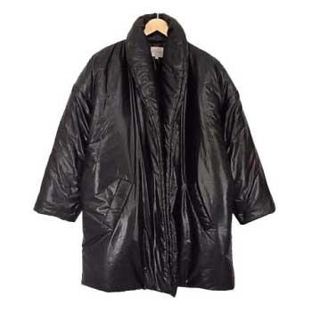 Celine セリーヌ フランス製 シルク混 中綿 ショールカラー レディース コート 黒 S 画像