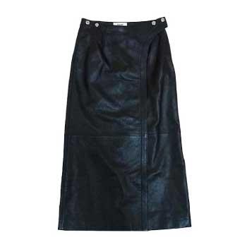 セリーヌ CELINE 19AW ラムレザー ロング スナップ レディース スカート 黒系 34 画像