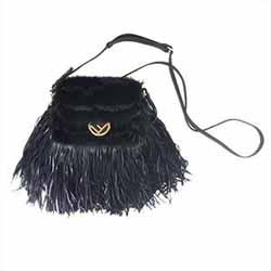 フェンディ 8M0345-A0K9-17S-9851 Fringed Leather Mink Micro Baguette Bag 画像