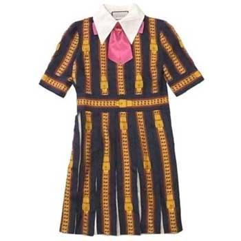 グッチ 17年 Sylvie Chain Print Silk Dress チェーン シルク ドレス レディース ワンピース 画像