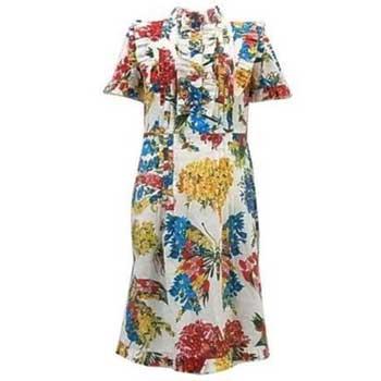 グッチ 17SS 花柄 コサージュ ドレス ワンピース 画像