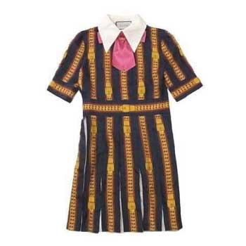 GUCCI 17年 Sylvie Chain Print Silk Dress チェーン シルク ドレス レディース ワンピース マルチカラー系 40 画像