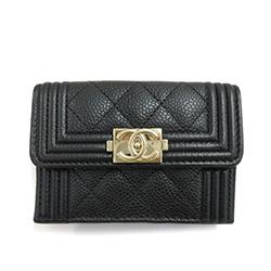 シャネル ミニ財布 シャネル キャビアスキン 三つ折り財布 黒 画像