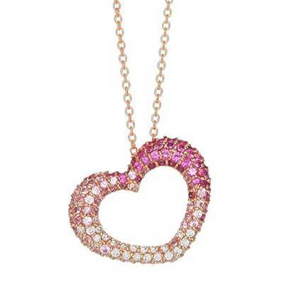 ポンテヴェキオ ピンクサファイア ダイヤモンドネックレス 画像